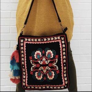 Velvet Embroidered Hobo Bag w/ Large Tassel, NWT
